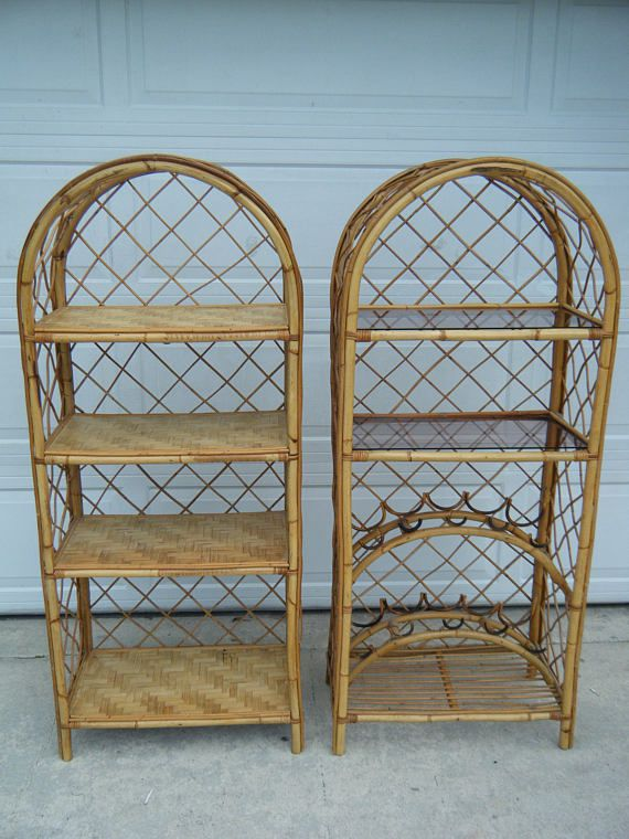 One Vintage Bamboo Pencil Reed Etagere Bar Wall Unit Wine