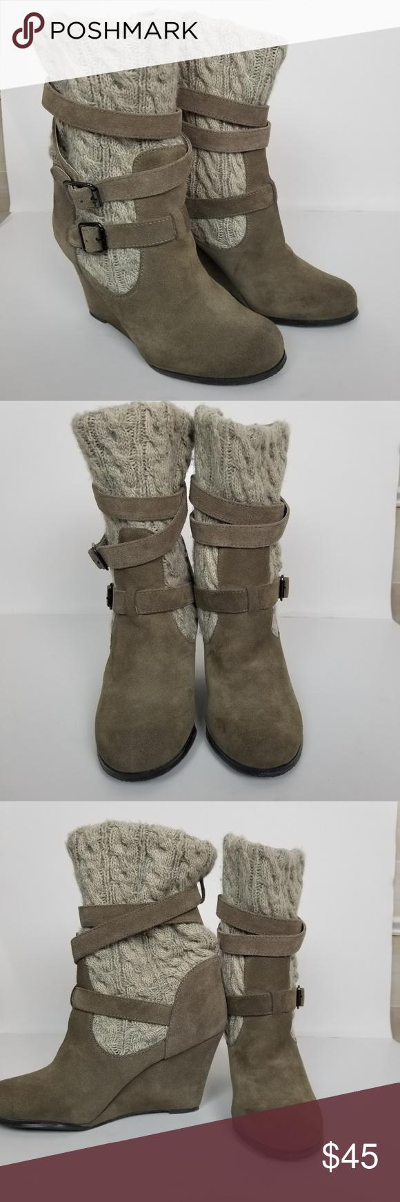 d5a9d2f7c4e Steve Madden P-alpine boots sz 9.5 Authentic Steve Madden tan alpine ankle  wedge boots with chunky knit sweater on calf