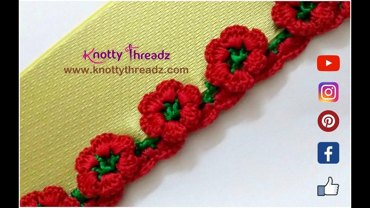 How To Crochet Beautiful Flower Design Border Saree Tassels