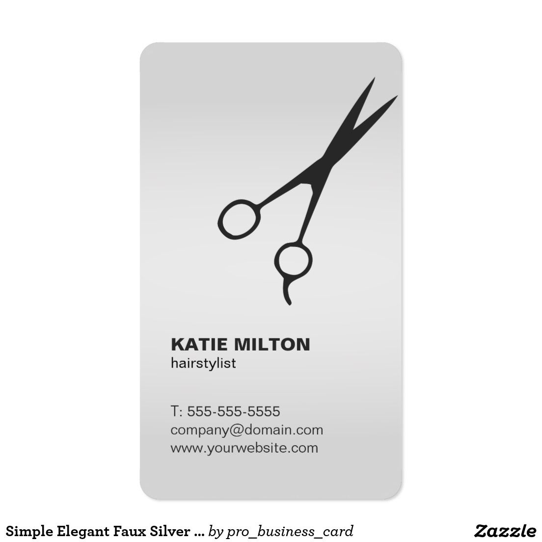 Simple Elegant Faux Silver Black Scissor Hairstyle Business Card ...