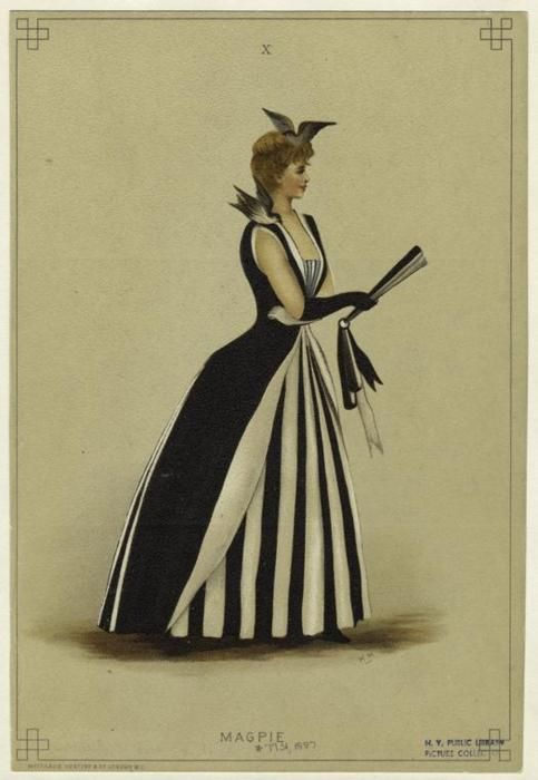 """A very fashionable ""magpie"" costume from the 1887 edition of Fancy Dresses Described: or, What to wear at fancy balls."""