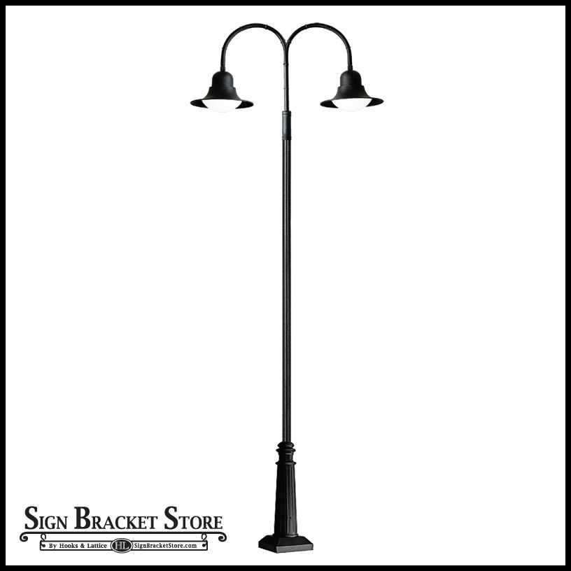 Post mount double arm light 120v powder coated cast aluminum post mount double arm light 120v powder coated cast aluminum street light powder coated black mozeypictures Gallery