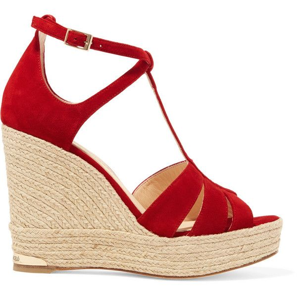 135099e72b71 Paloma Barceló Sophie suede espadrille wedge sandals (580 RON) ❤ liked on  Polyvore featuring. Red Wedge HeelsRed WedgesStrappy ...