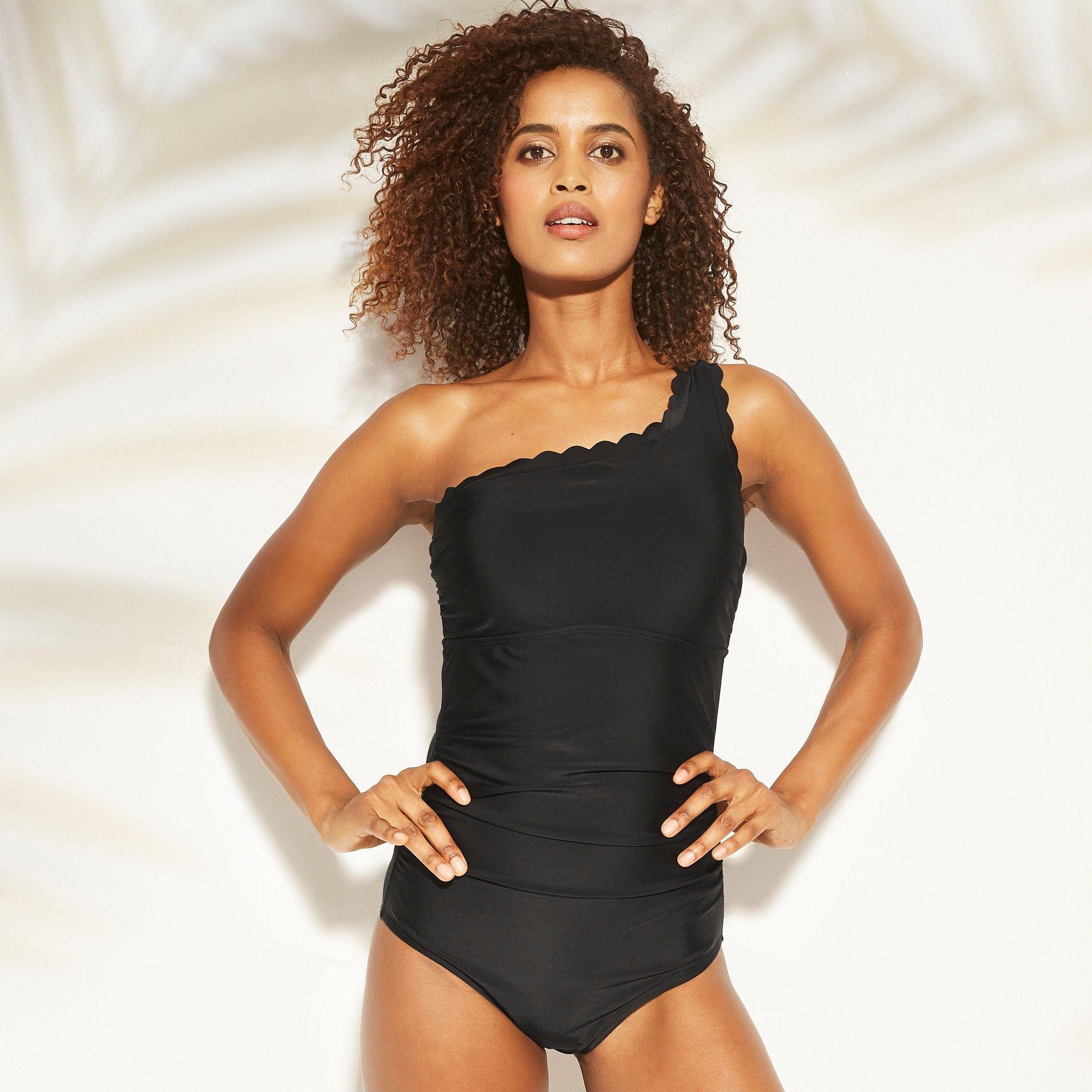 03c27662410 Women's Shirred Scallop One Shoulder One Piece Swimsuit - Kona Sol ...