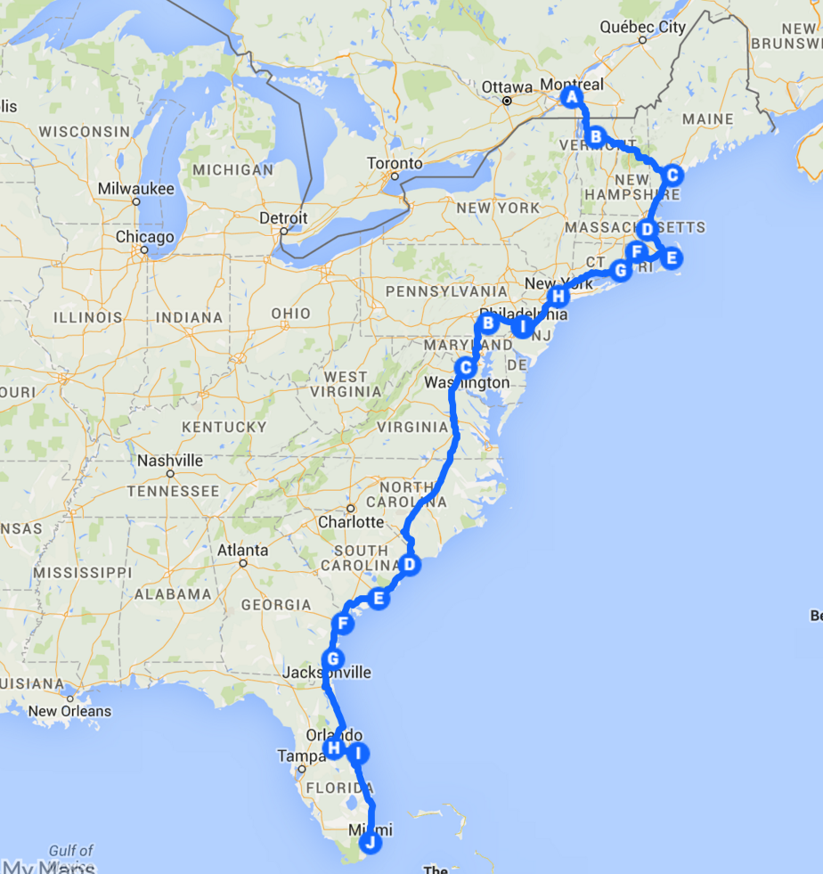 The Best Ever East Coast Road Trip Itinerary East Coast Travel Road Trip Map Road Trip Fun