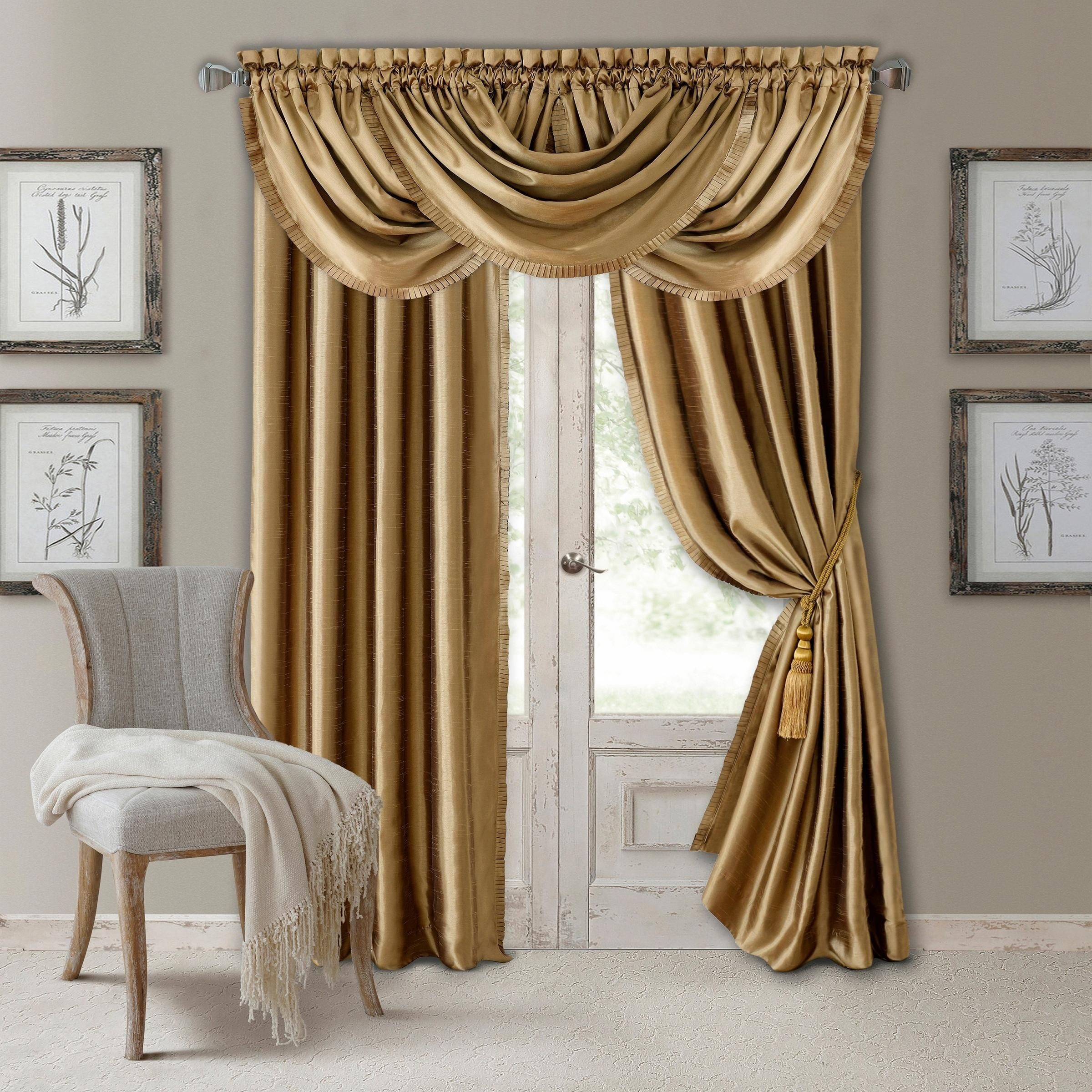 36 Inch Room Darkening Curtains Elrene Versailles Waterfall Blue Window Valance Gold 52