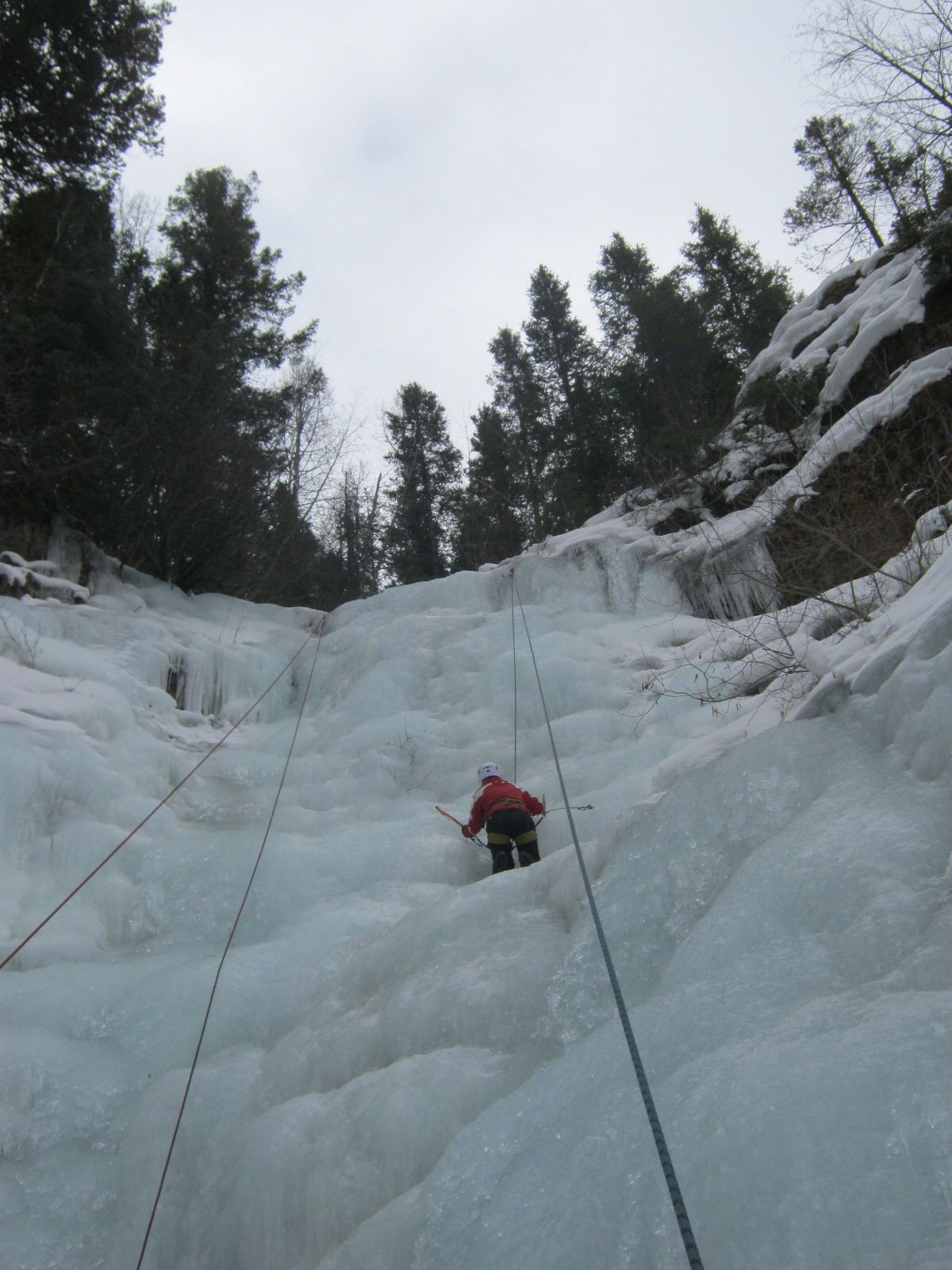 Ice climbing natural waterfalls