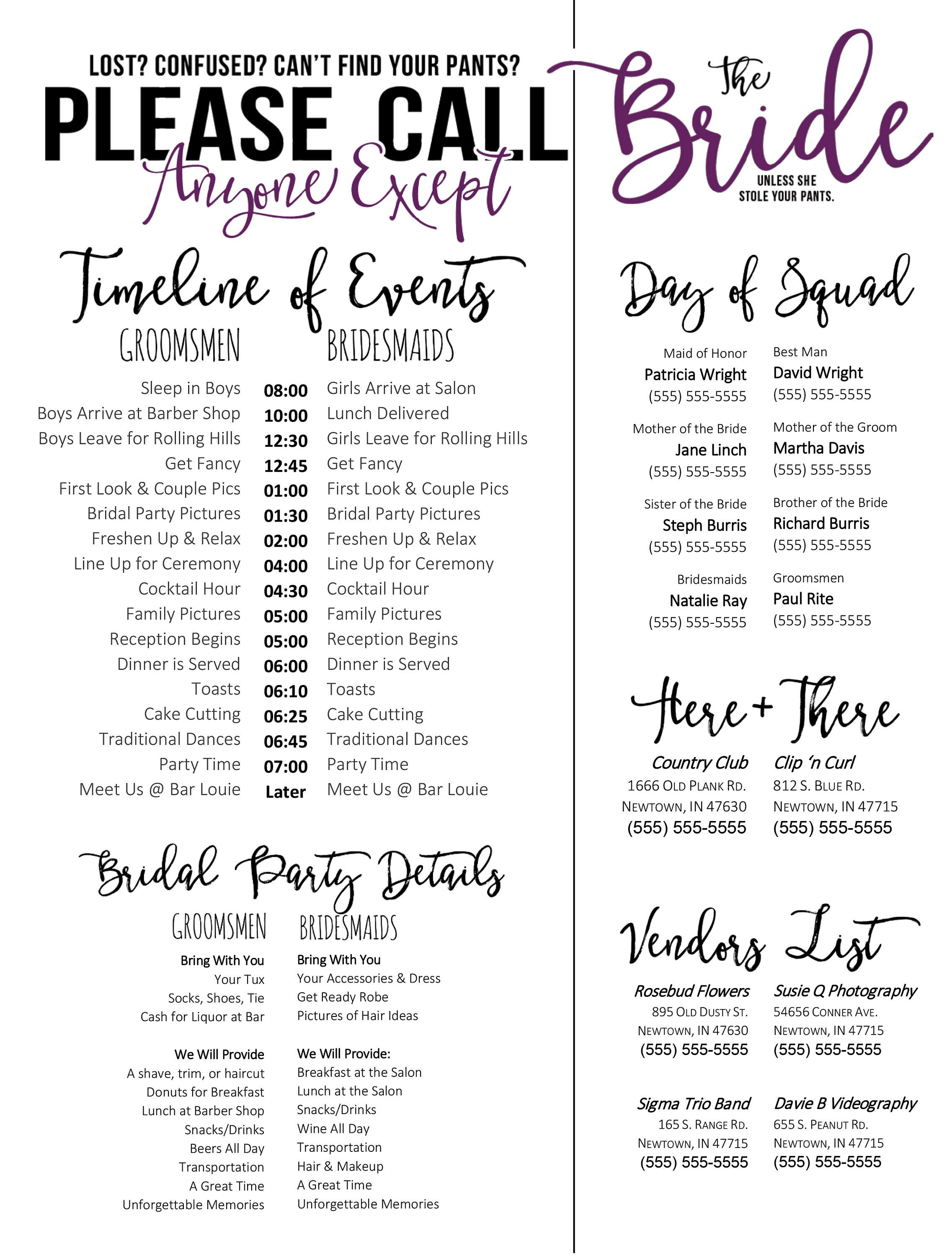 Wedding schedule template purple timeline of events for Wedding day schedule of events template