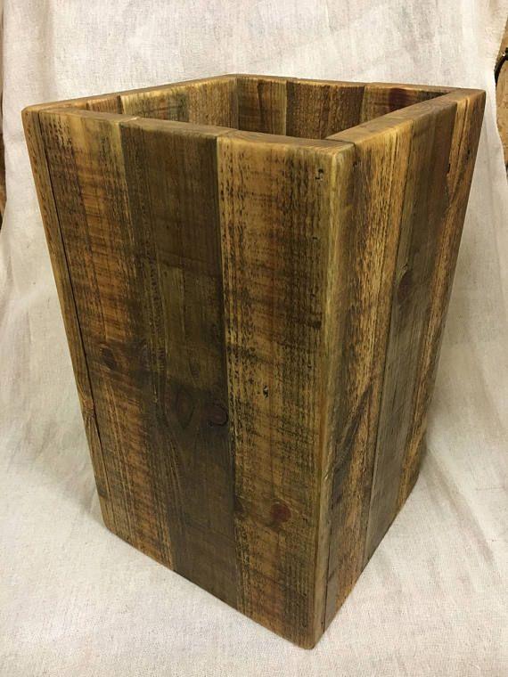 Large Wooden Bin Waste Paper Bin Bathroom Bin Reclaimed Wood Pallet Wood Bin Rustic Wood Bin Bathroom Accessory Storage Bin Wooden Bins Wood Bin Waste Paper