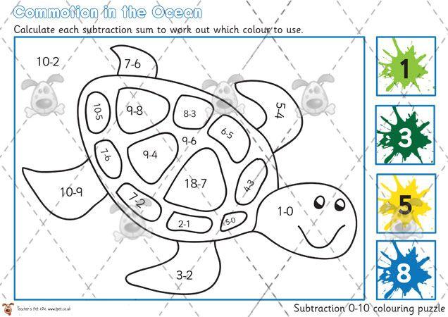 teacher 39 s pet under the sea addition colouring puzzle 0 10 premium printable classroom. Black Bedroom Furniture Sets. Home Design Ideas