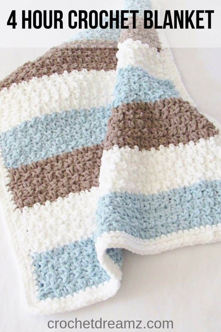 Photo of Try this easy and quick chunky afghan free crochet pattern. This fast baby blank…