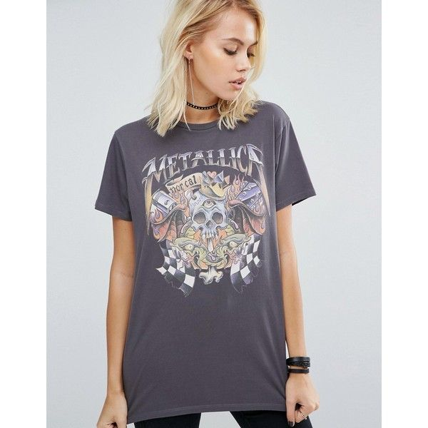 6de7fa525f7e ASOS T-Shirt With Metallica Print In Washed Oversized Fit ($33) ❤ liked on  Polyvore featuring tops, t-shirts, grey, print t shirts, gray t shirt, ...