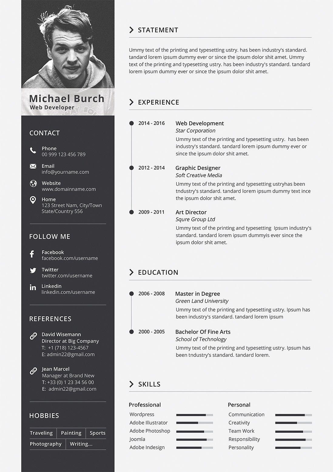Minimal Cv Resume Graphic Design Resume Interior Design Resume