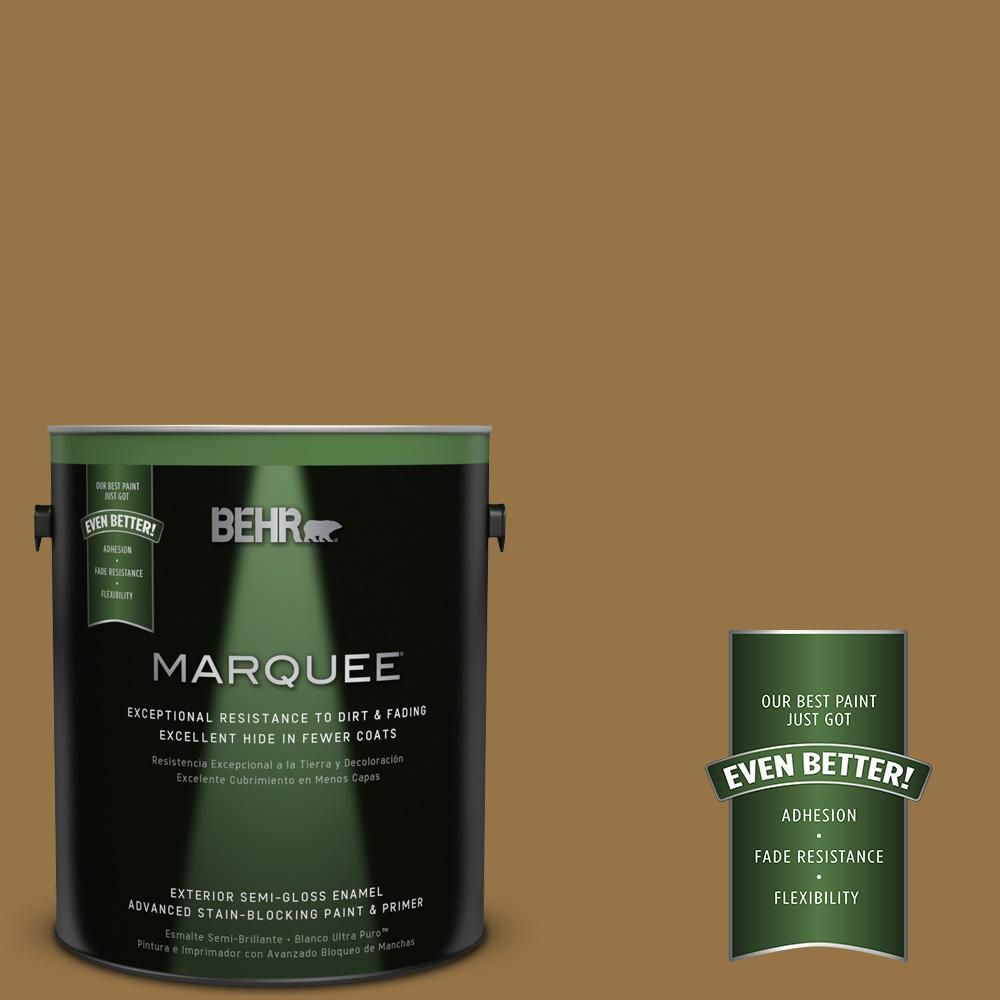 BEHR MARQUEE 1-gal. #S300-7 Rococo Gold Semi-Gloss Enamel Exterior Paint, Harvest Time