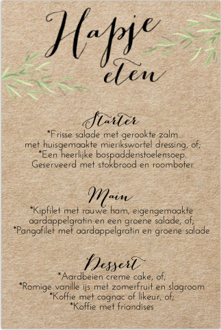Rustieke kerstmenukaart met kraftlook en watercolour takken. Gratis verzending in Nederland en België.