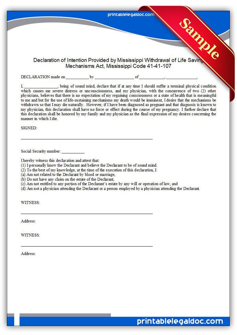 Free printable life sustaining statute mississippi form