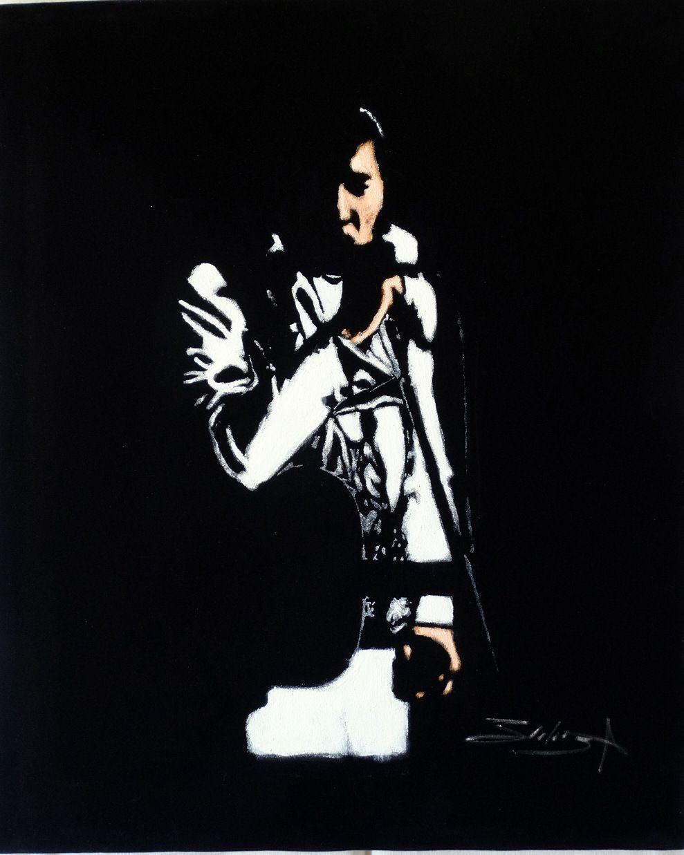 Pop Art Elvis Presley Oil Painting Velvet By Mago Zalas