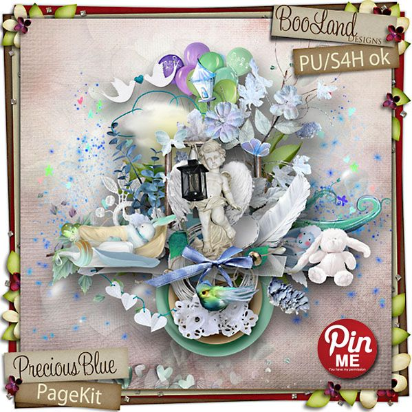 Precious Blue Page Kit - Booland Designs