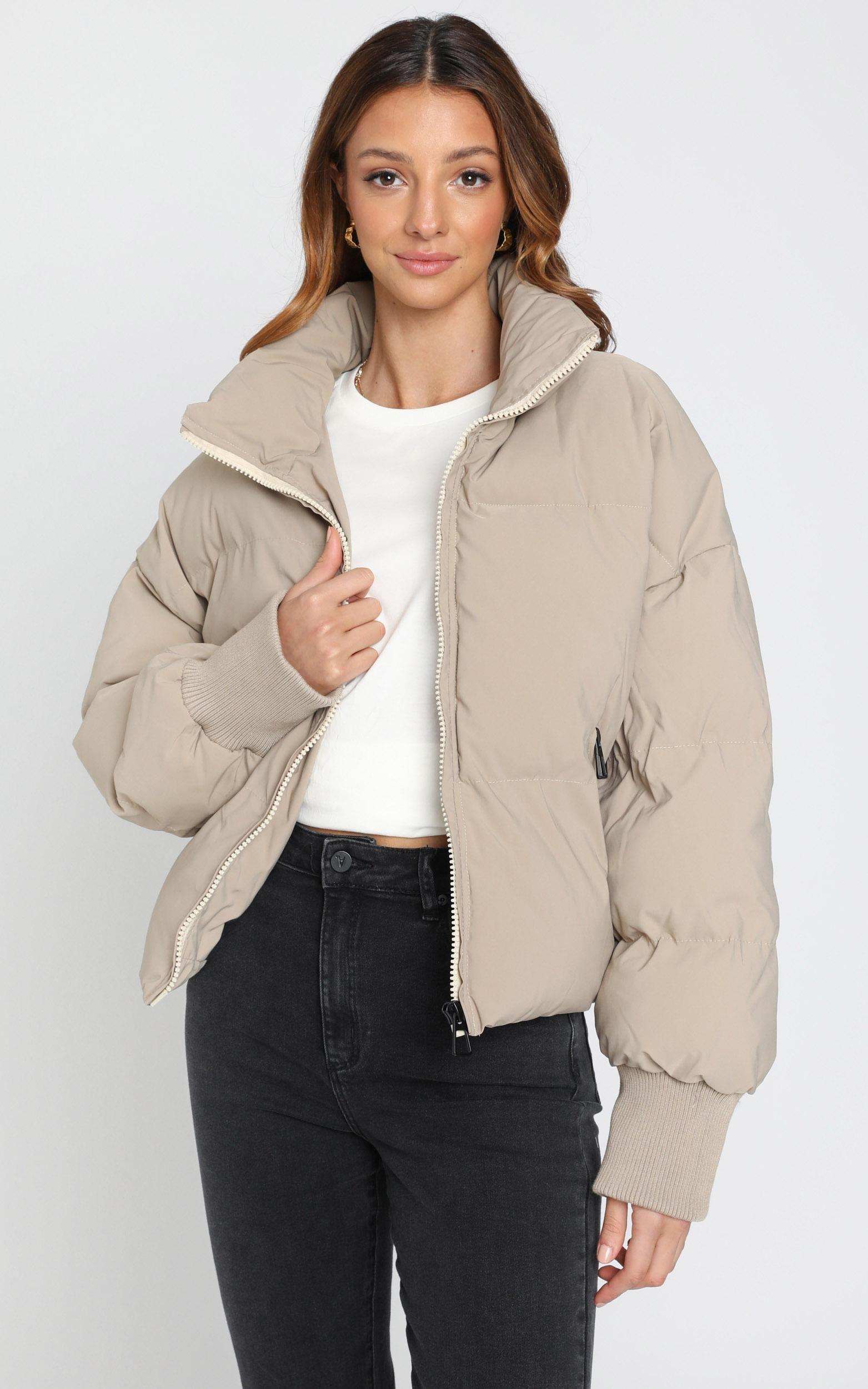 Windsor Puffer Jacket In Beige Showpo Puffer Jacket Outfit Jacket Outfit Women Beige Puffer Jacket [ 2500 x 1563 Pixel ]