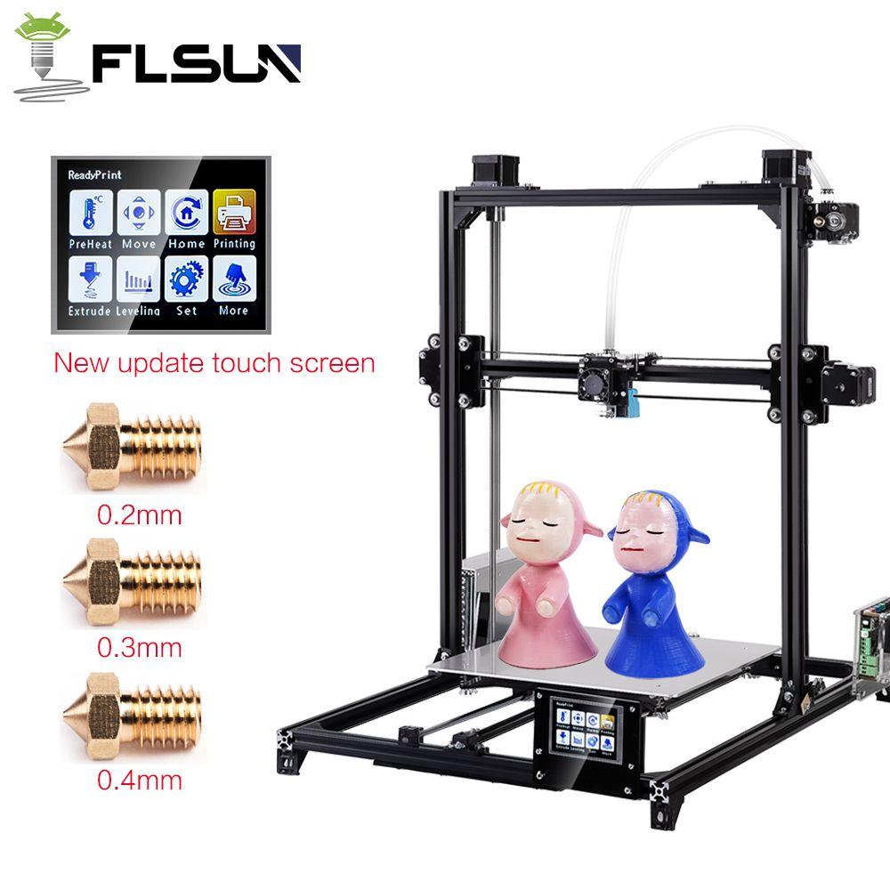Flsun 3d Imprimante I3 Double Extrudeuse Kits Auto Nivellement Grande Taille 300x300x420mm Imprimante 3d Chauffée Lit Deux Rolls 3d Printer Printer 3d Printing