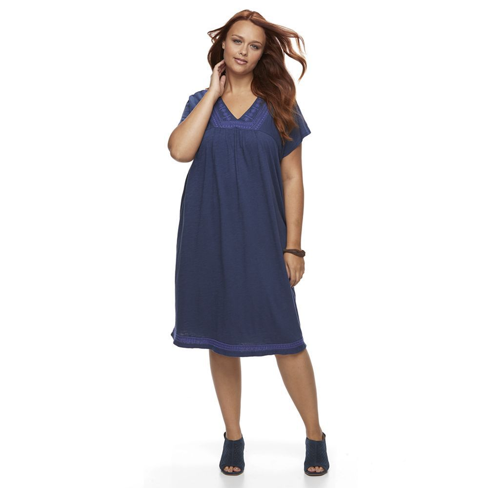 Plus size sonoma goods for lifeâue embroidered tshirt dress