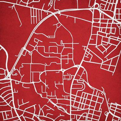 University Of Maryland Campus Map Art City Prints Map Art University Of Maryland Map Art Print