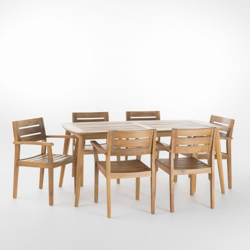Noble House Darius 7 Piece Teak Acacia Wood Rectangular Outdoor Dining Set 13694 Outdoor Dining Set Rectangular Dining Set Teak Patio Furniture