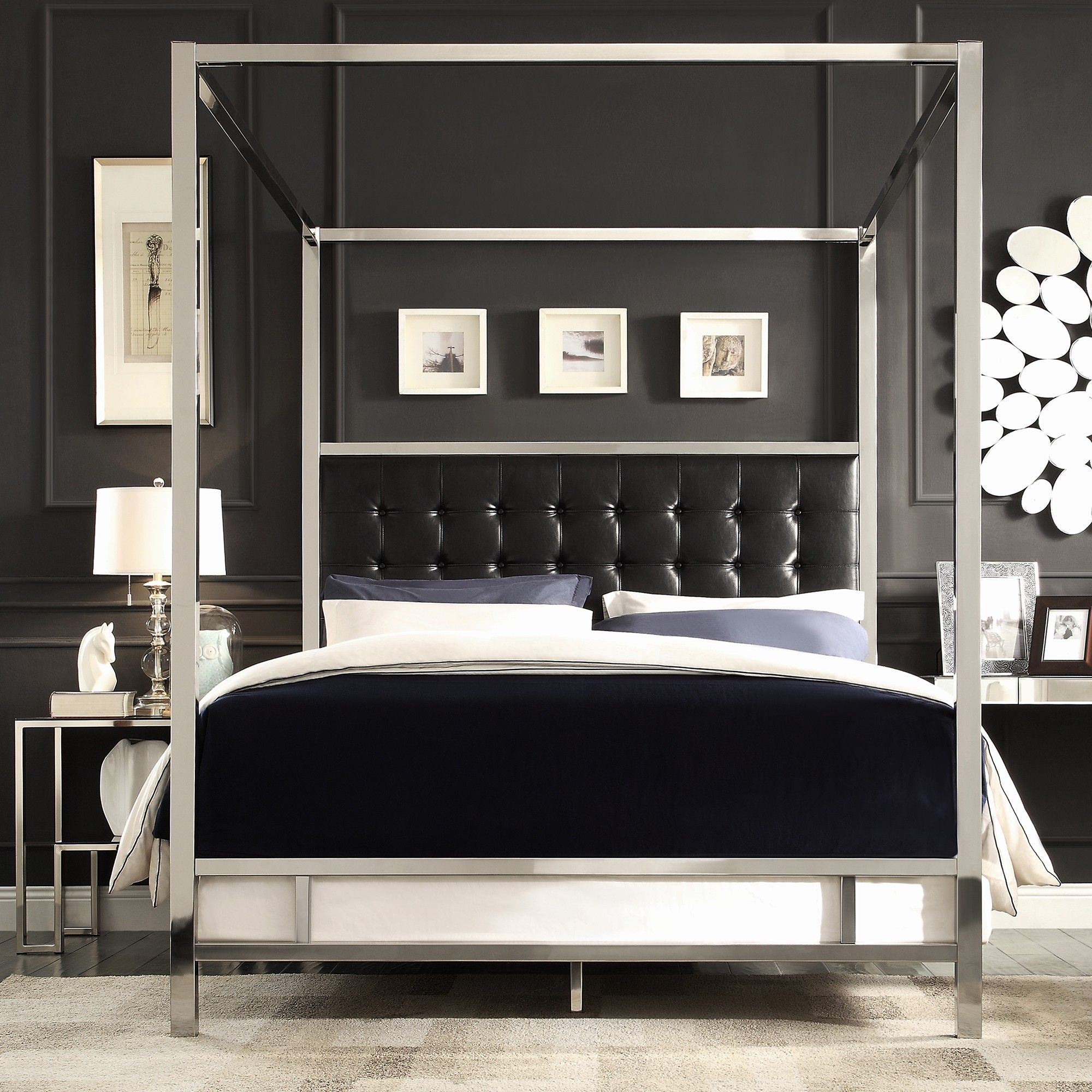 Bedroom Silver Stainless Steel Canopy Bed With Black Leather Headboard And White Bedding Bed On White Rug Captiv