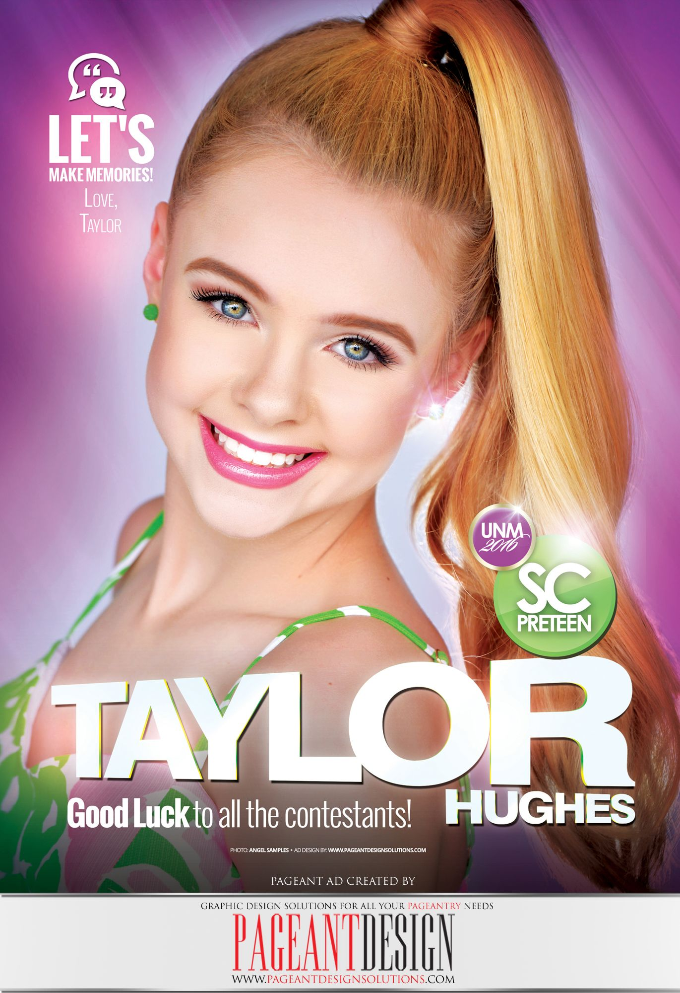 #AWESOMEpageantAD designed for Taylor Hughes for the official UNM 2016 Program Book | GET IN TOUCH if you need an awesome-looking, professionally-designed ad page! | #PageantDesign Graphic design solutions for all your pageantry needs! | For samples, check out: www.pageantdesign... and like us on facebook: www.facebook.com/... | ALL STATES, ALL AGES, ALL PAGEANTS SYSTEMS WELCOME! #PageantAds #AWESOMEpageantADS