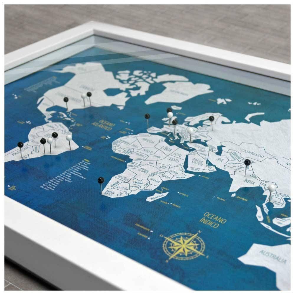 Quadro Box M Mapa Mundi Urban 100 Pins Alfinetes Para Marcar