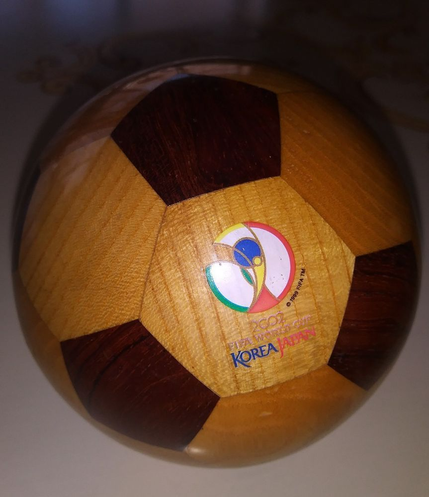 Fifa 2002 World Cup Souvenir Wooden 4 Ball Korea Japan Soccer Marquetry Inlay Ebay
