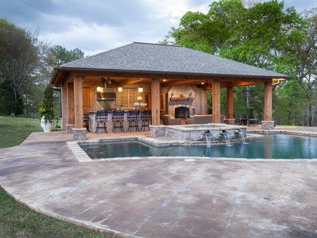 Rustic Mississippi Pool House Landscaping Network Pool House