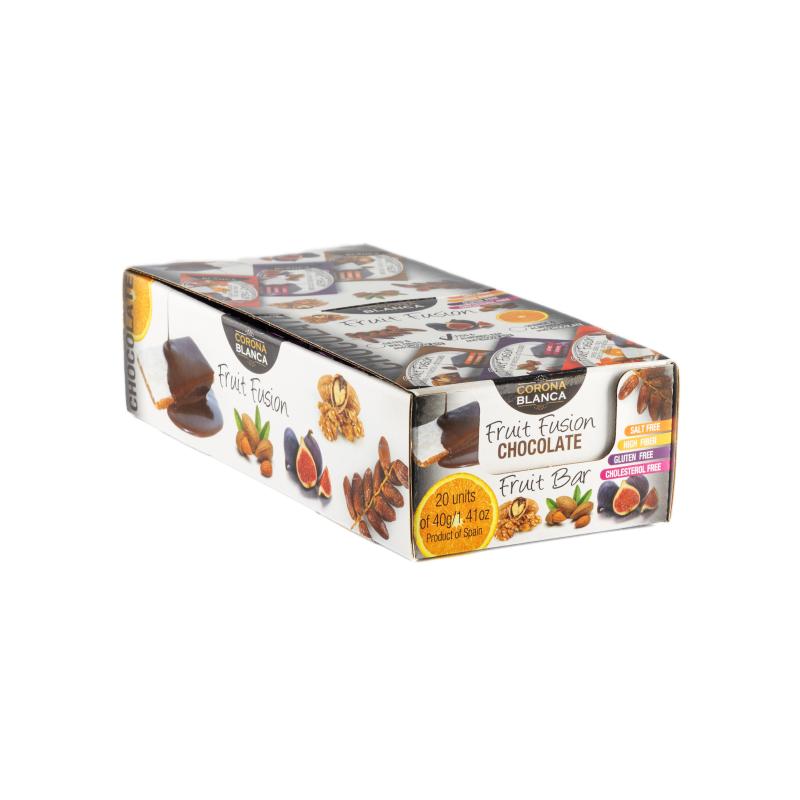 Mix de barritas energéticas naturales cubiertas de chocolate.