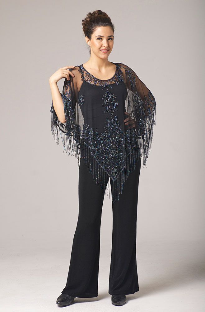 This Beautiful Black Pancho Is Full Of Details Beaded On