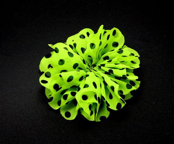 3 1/2 Neon Green & Black Polka Dots  Ballerina by wholesaleflowers, $1.75