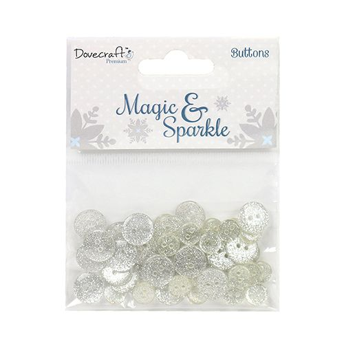 Dovecraft Premium Time to Sparkle Christmas Collection Glitter Buttons
