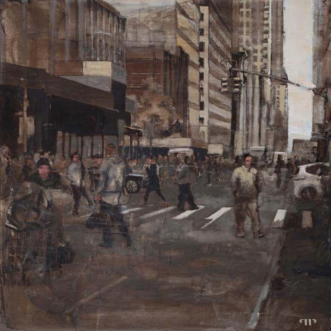 "Patrick Pietropoli, New York Street XII, 2014, Oil on Linen, 20"" x 20"" #art #axelle #painting #nyc #streetscape #urban"