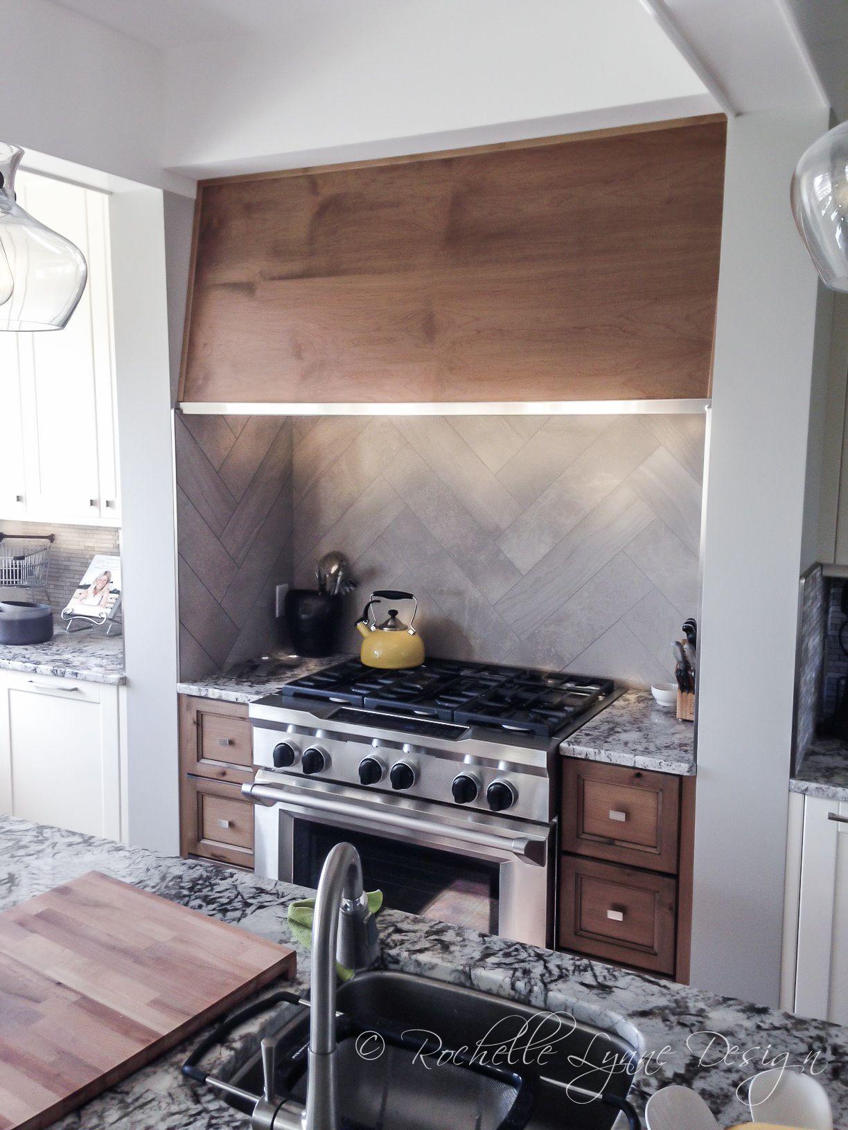 Urban Vintage Kitchen Remodel Custom Stove Hood Herringbone Tile