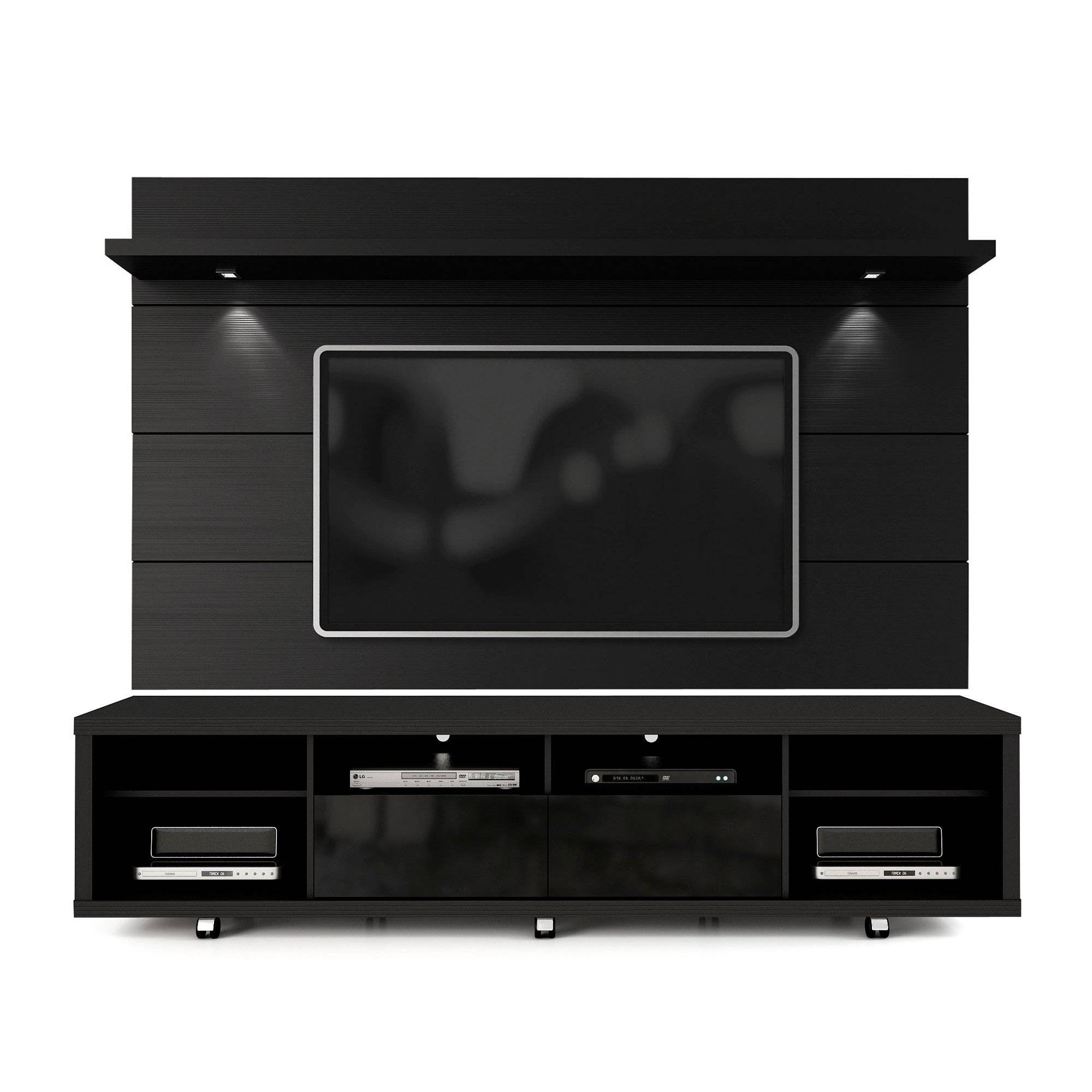 Cabrini Floating Wall Mount With Led Lights Tv Stand For Tvs Up To 70 Black Manhattan Comfort Tv Panel Tv Wall Design Tv Wall Manhattan comfort tv stand