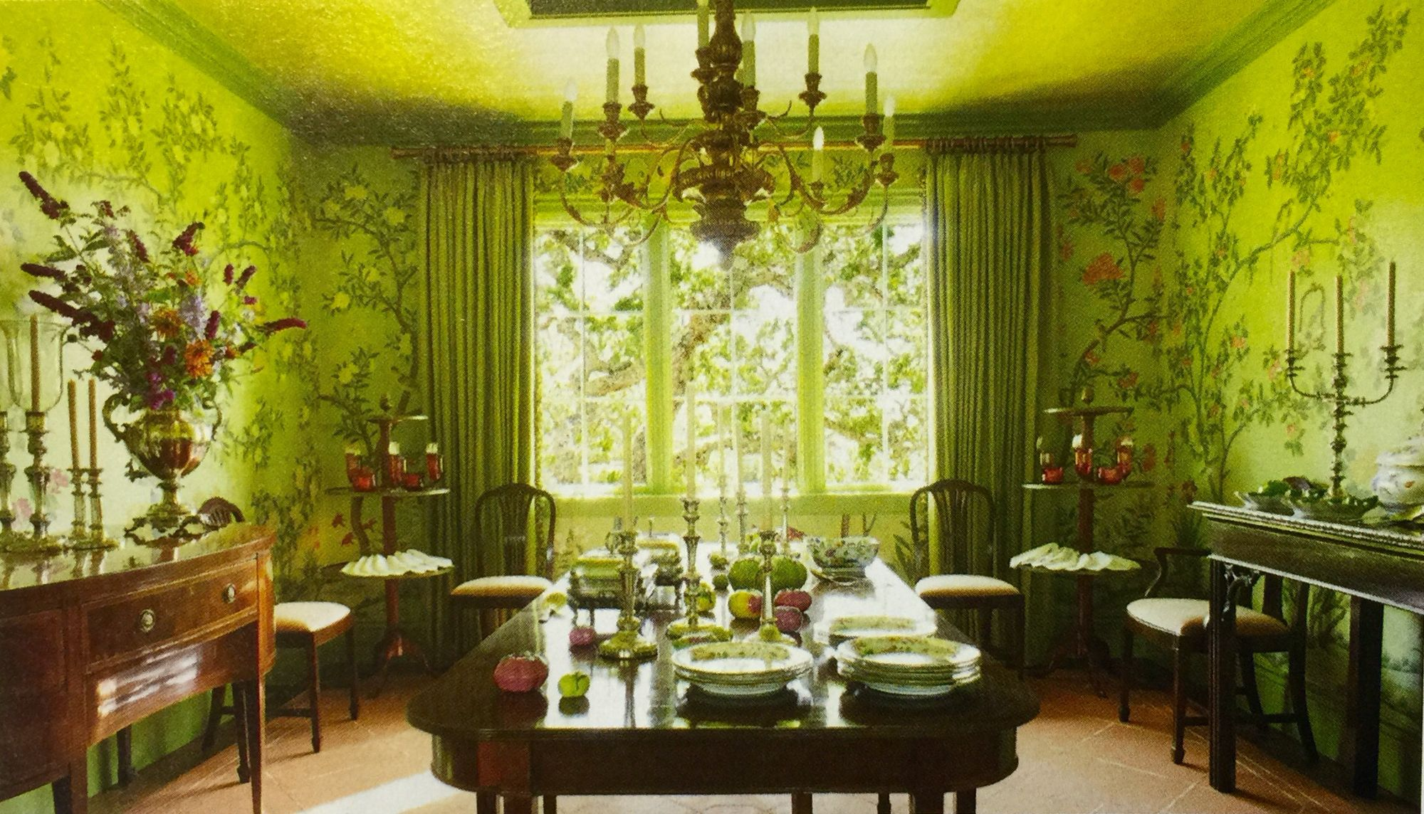 Room Chinoiserie green dining room Chinoiserie