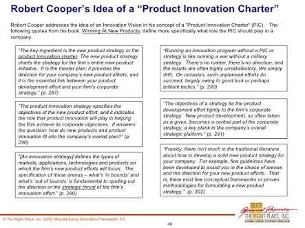 product innovation charter sample A critical strategic document, the product innovation charter (pic) is the heart of any organized effort to commercialize a new product it contains the reasons the project has been started.
