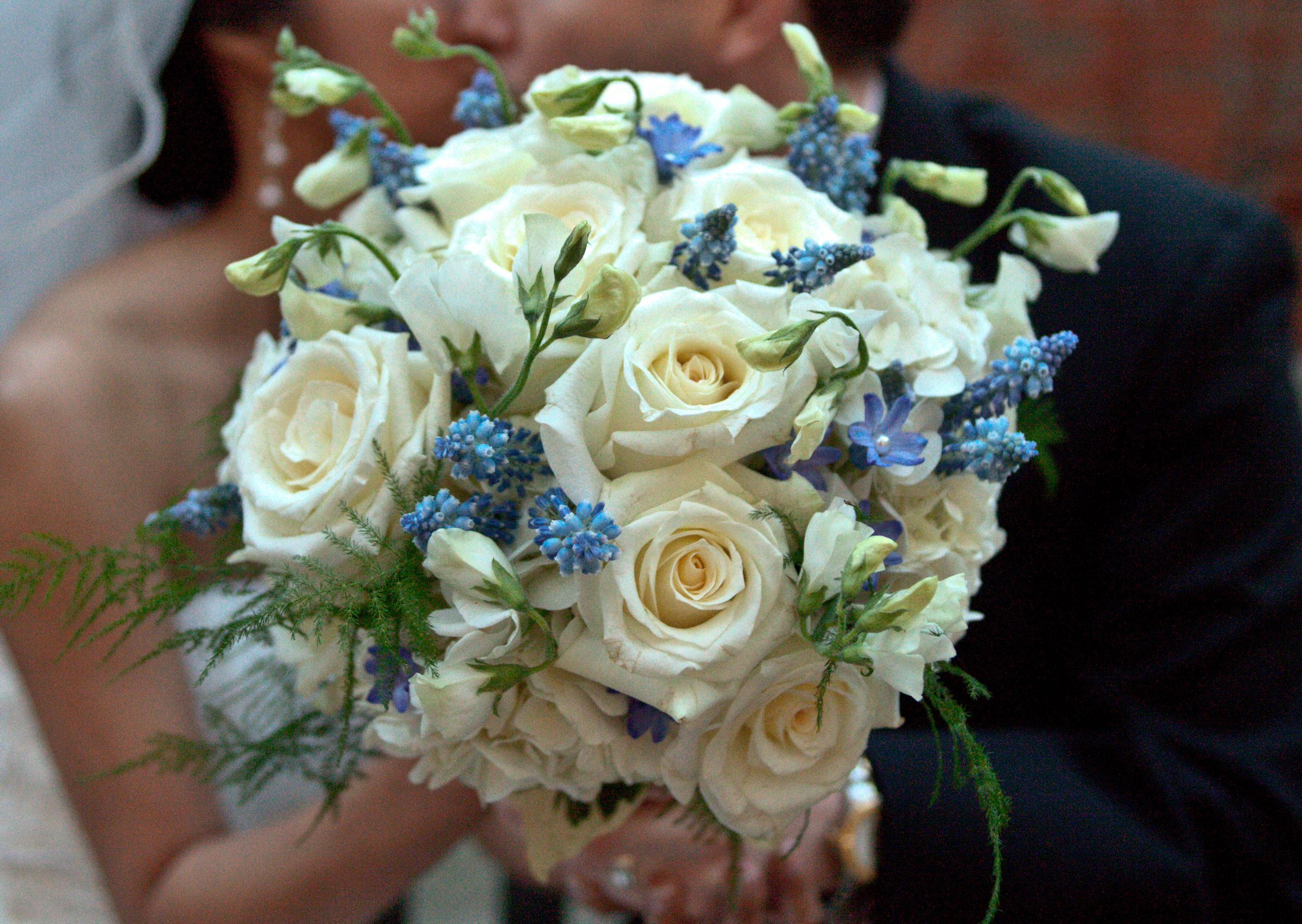 Blue And White Bouquet With Wedding Flowers Like Muscari Sweet Pea Dallas