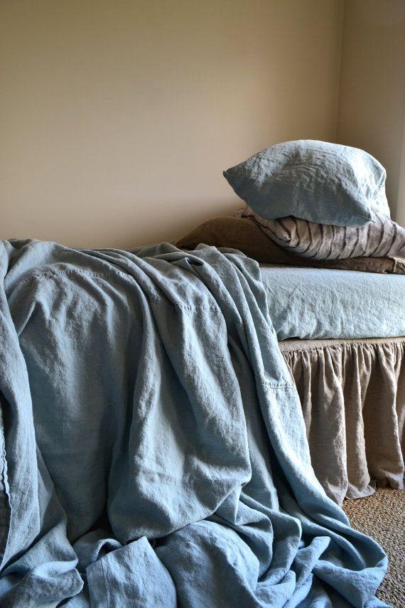 Duck Egg Blue Heavy Weight Rustic Linen Sheet Throw Blanket