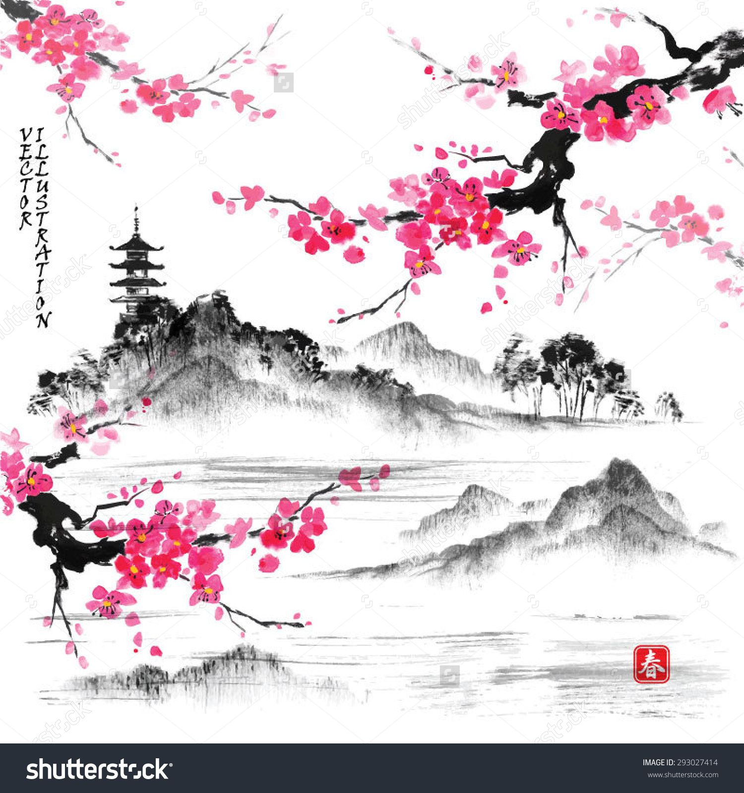Landscape With Sakura Branches Lake And Hills In Traditional