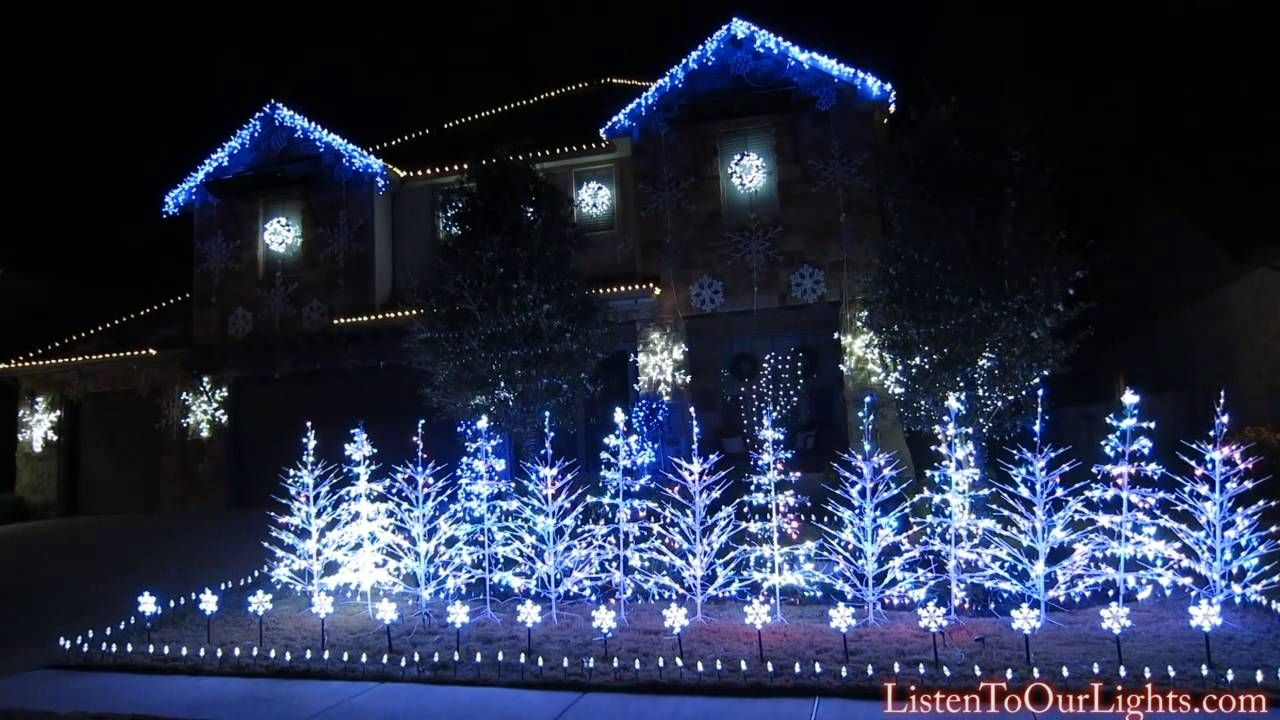An Elaborate And Stunning Christmas Light Display Set To The Song Let It Go From The Disney M Christmas Light Show Christmas Lights To Music Frozen Christmas