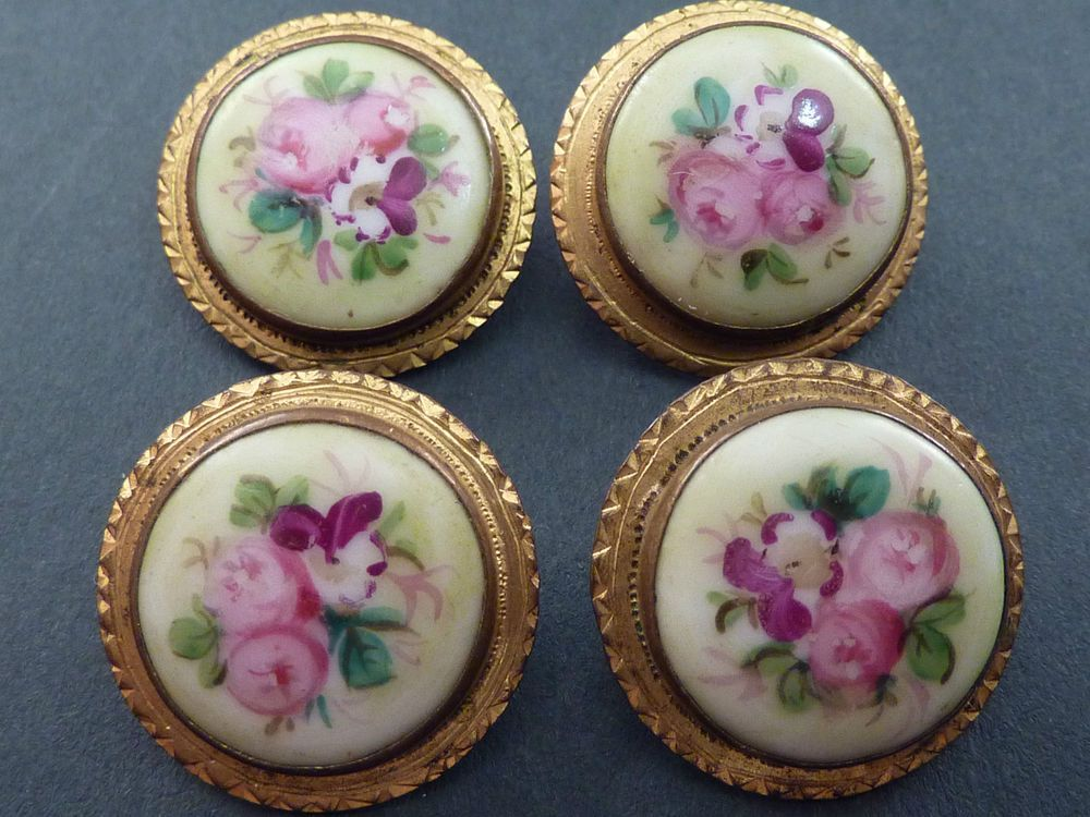 4 VERY PRETTY VICTORIAN FLORAL PORCELAIN BUTTONS
