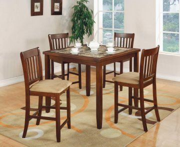 The 5 PC Edmonton Square Faux Marble Bar Height Dining Table Set By True Contemporary Constructed From Hardwoods And Wood Veneers In A Cherry Finish