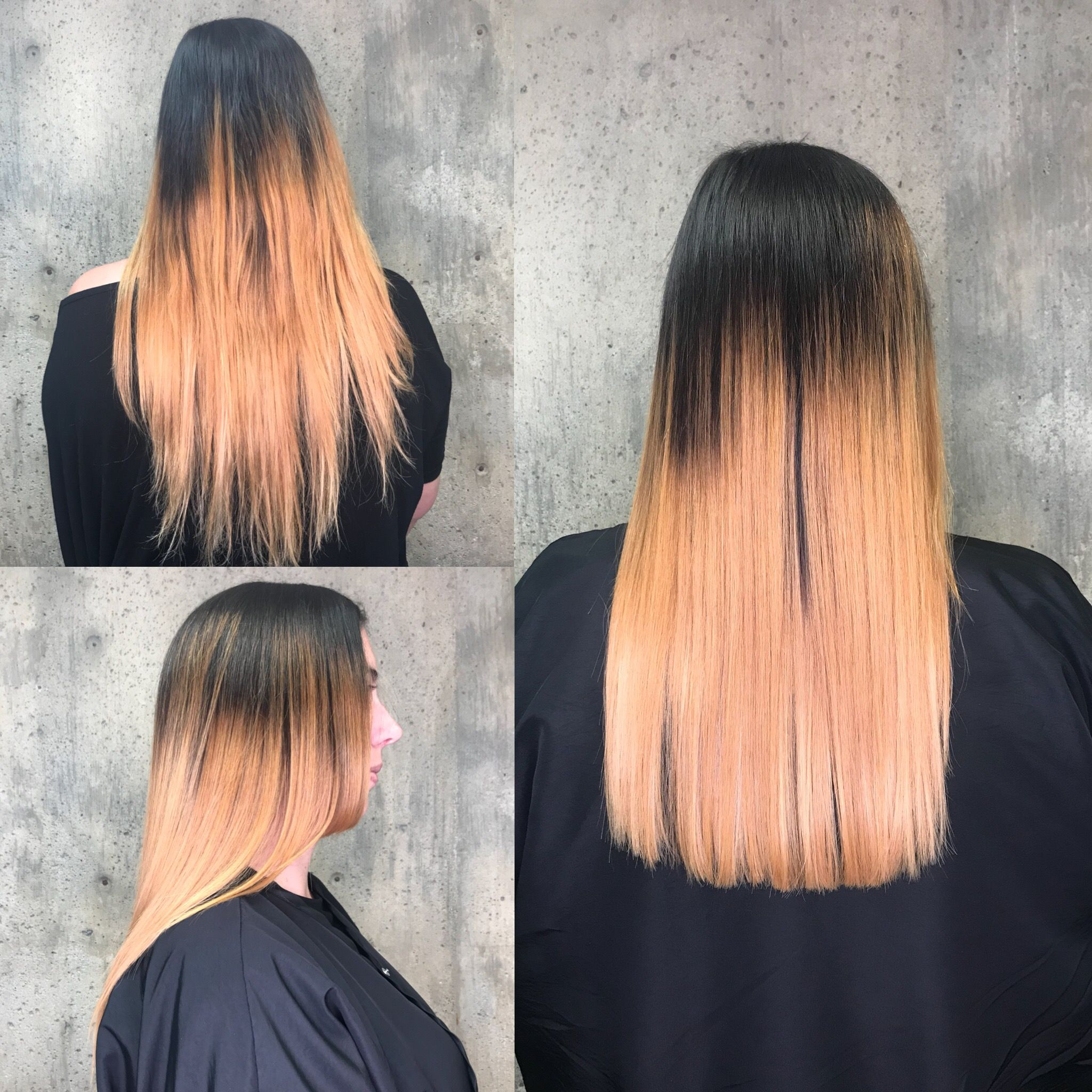 Straight hair one length trim (rounded corners)  Before and