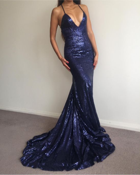 082a209f Charming Prom Dress,Navy Blue Prom Dress,Sexy Sequin Prom Dress,Long ...