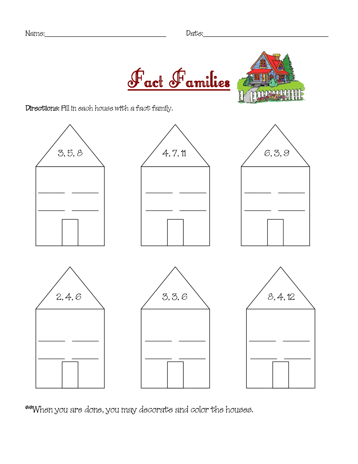 worksheet Fact Family Worksheets 3rd Grade fact family worksheets printable activity shelter kids grade for easy math